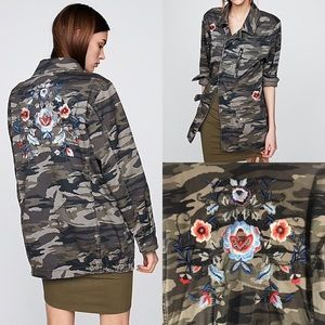 Express | Embroidered Camo Military Jacket